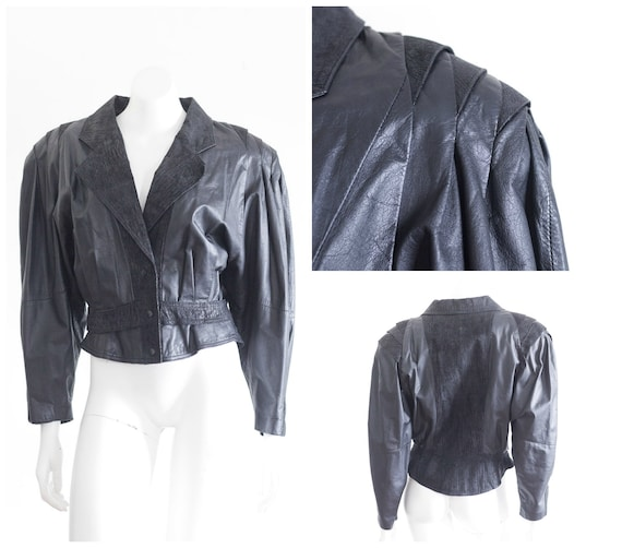 1980s black leather oversize jacket