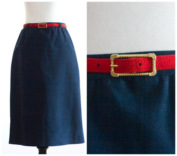 1970s blue suede skirt with red belt from Nat Kapl