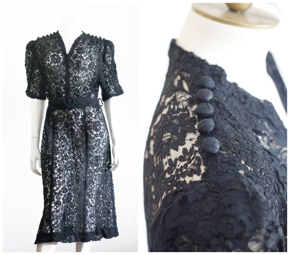 1930s volup black lace dress with belt
