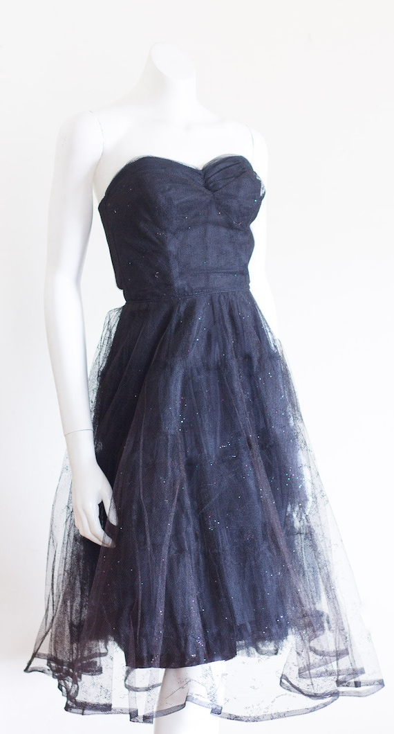 1950s black strapless fit and flare sparkly party… - image 5