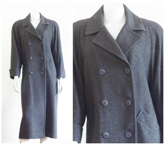 Women's gray camel hair double breasted overcoat f