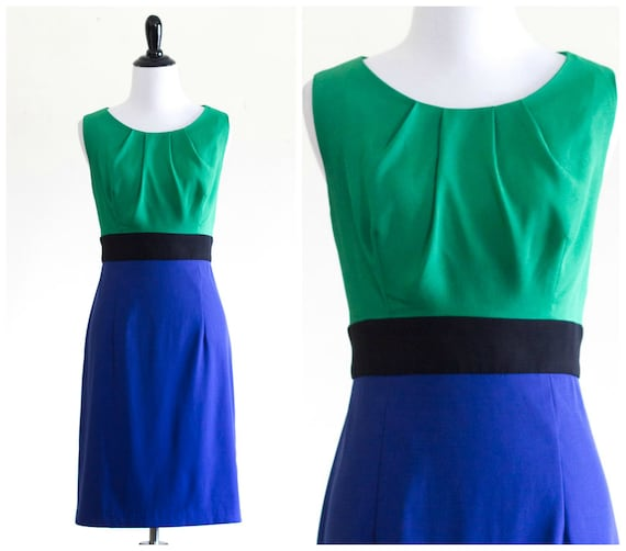 1990s green and and blue color block dress