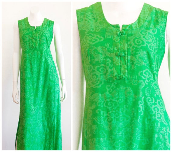 1960s Asian inspired green hostess gown