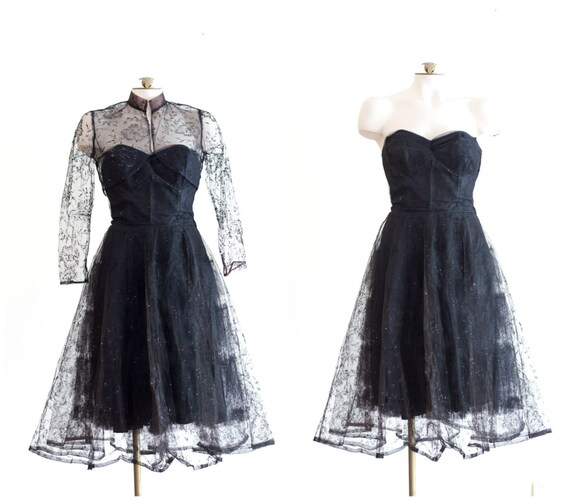 1950s black strapless fit and flare sparkly party… - image 2