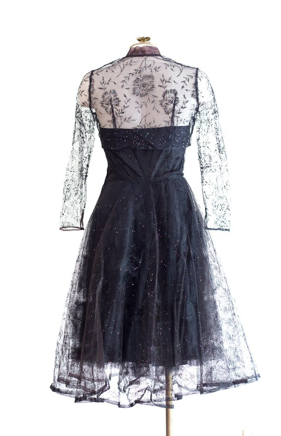 1950s black strapless fit and flare sparkly party… - image 6
