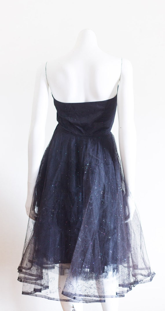 1950s black strapless fit and flare sparkly party… - image 7