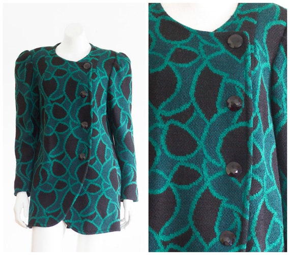 1980s teal and black knit coat with shoulder pads