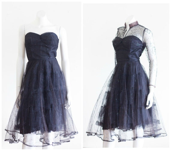 1950s black strapless fit and flare sparkly party