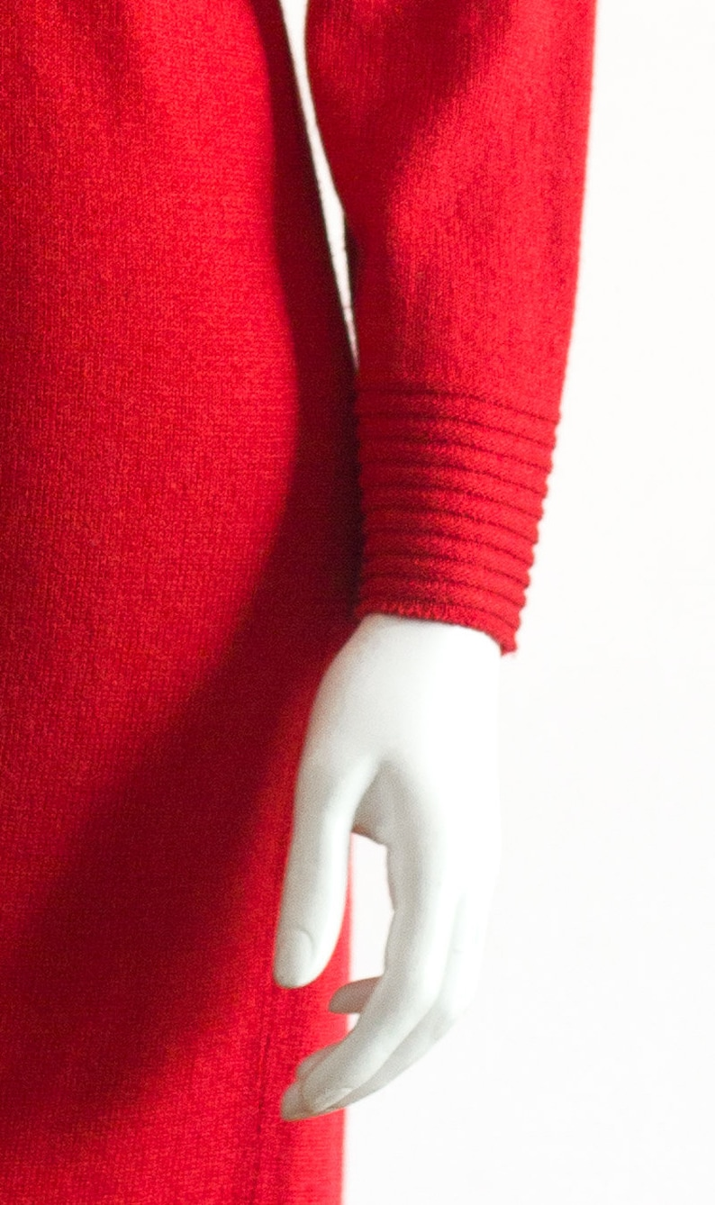 1980s coralred sweater dress