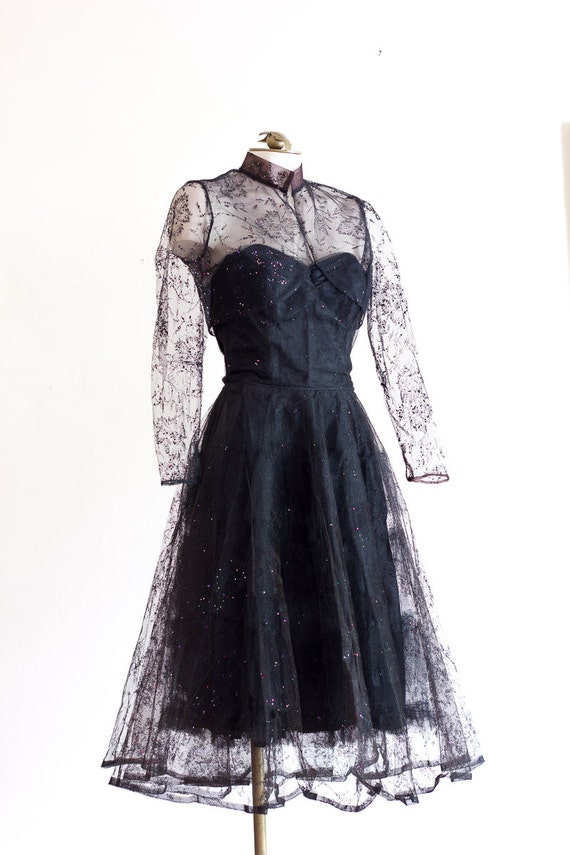 1950s black strapless fit and flare sparkly party… - image 4