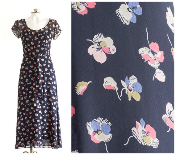 1990s long floral chiffon dress with belt