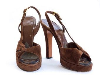 1940s brown suede platform sling back peep toe high heels