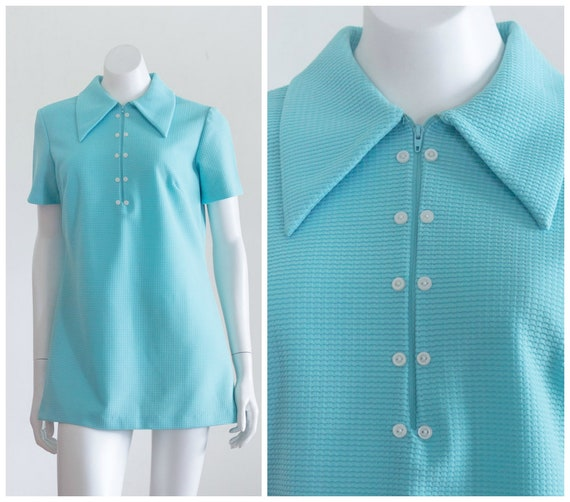 1970s blue tunic shirt with butterfly collar