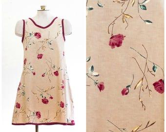 1990s linen dress with burgundy flower print