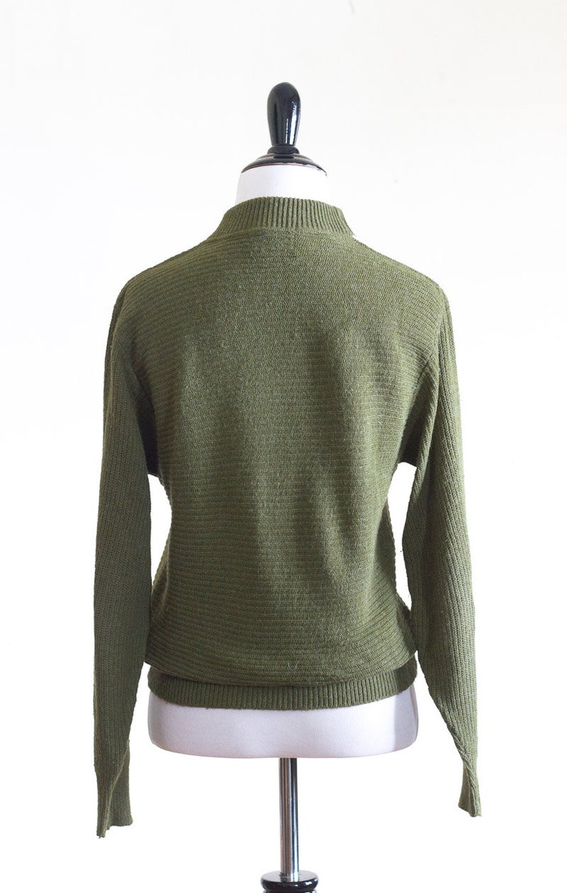 1960s sweater with green gray and white stripes