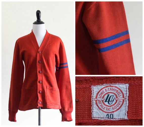 1930s orange/red athletic cardigan with striped sl