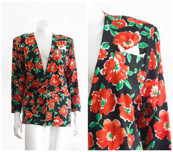 1980s oversize crepe blazer /blouse with orange fl