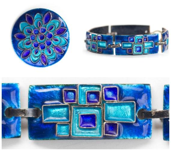 Mid Century Modern Scandinavian enamel bracelet an