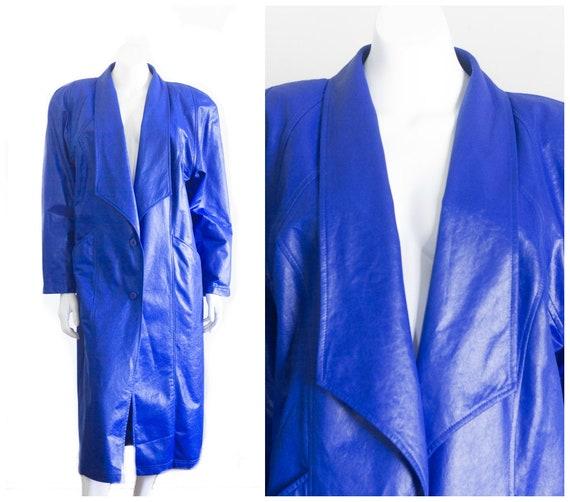 1980s long blue coat with shoulder pads