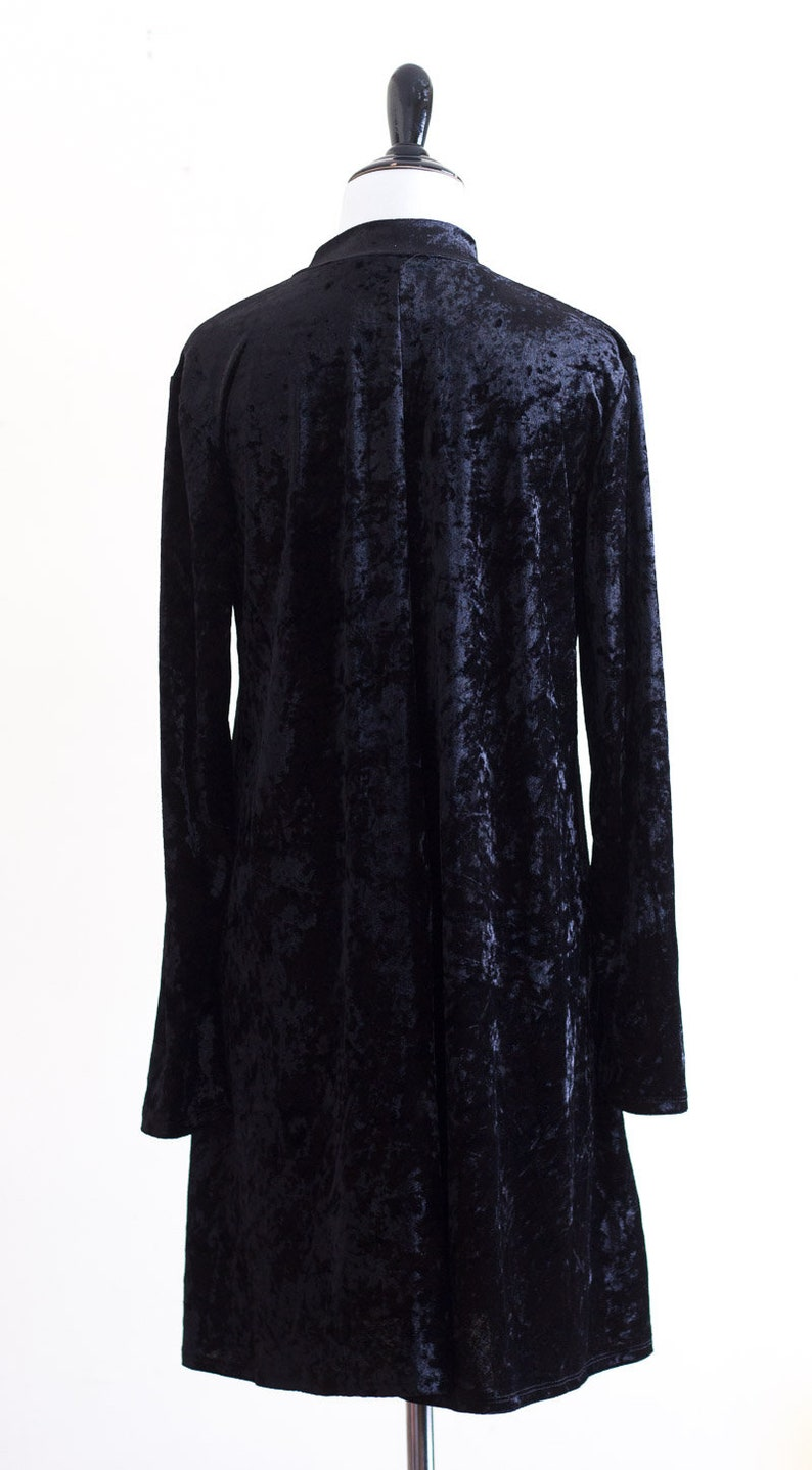 1990s black crushed velvet dress with key hole cut out