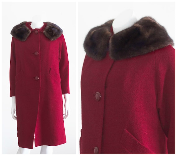 50s red overcoat with mink collar