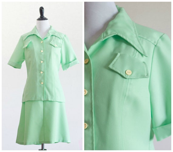 70s lime green skirt set