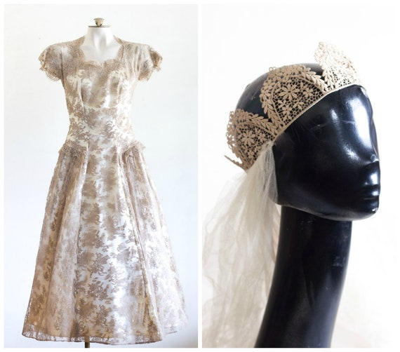 1950s wedding dress with taupe lace overlay and ma