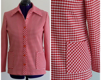 1970s red and white houndstooth blazer SIZE 14