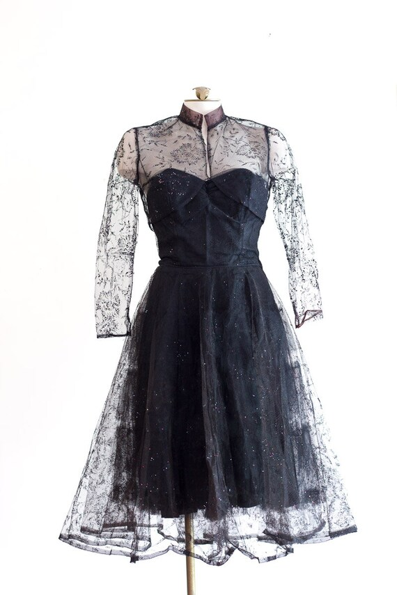 1950s black strapless fit and flare sparkly party… - image 9