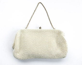 1960s/50s soft body white bead handbag