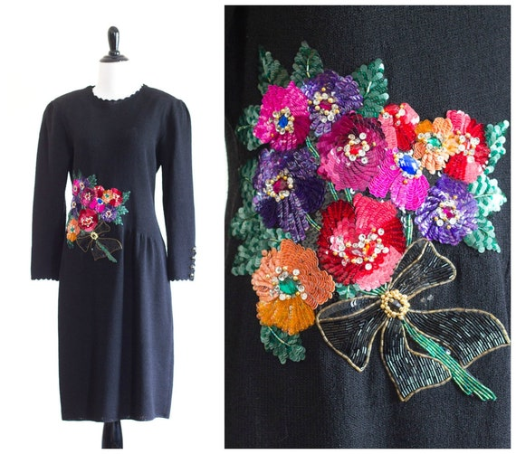 1980s black knit dress with sequins