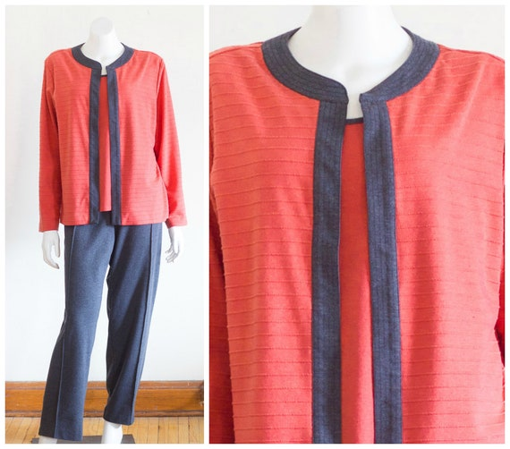 Coral and gray knit two piece pants set