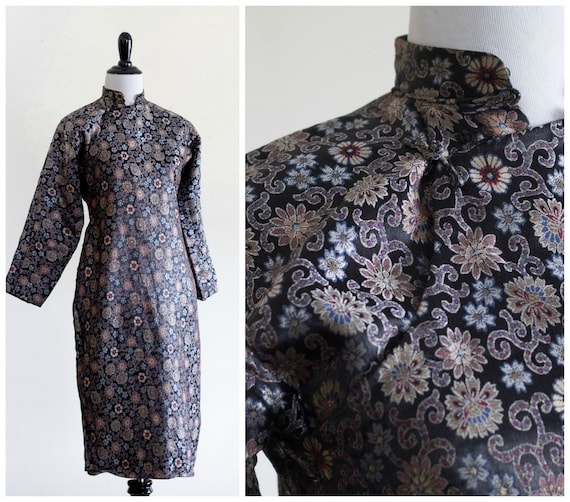 Black silk brocade qipao with long sleeves
