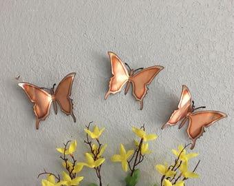 Copper Butterflies - Set of 3 - Butterflies - Wall Art - Metal Butterflies - Home Decor & Metal butterfly wall art | Etsy