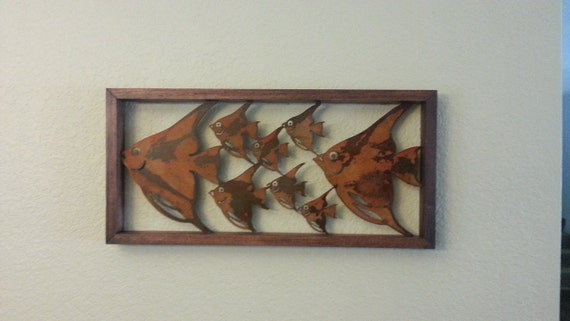 school fish - fish - metal art - wall art