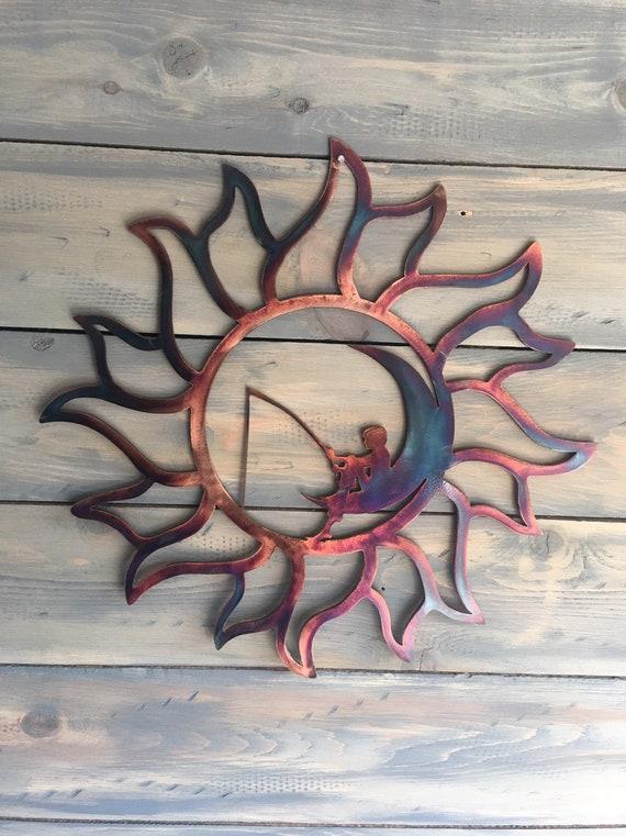 Sun and the moon metal Art - Metal Moon and Sun - SunMoon Metal Art - Metal Art Sun Moon - Home Decor - Wall Hanging