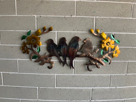 Birds on a branch with flowers made of steel   Home Decor   Metal Wall Art