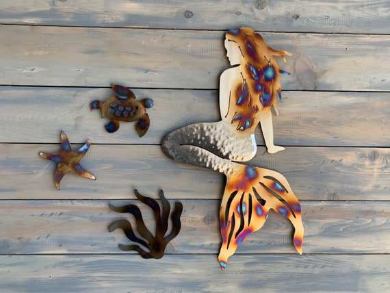 Sea Creatures and Mermaid  Theme - Stainless steel Mermaid -Home Decor  - Metal Art  Wall Hanging