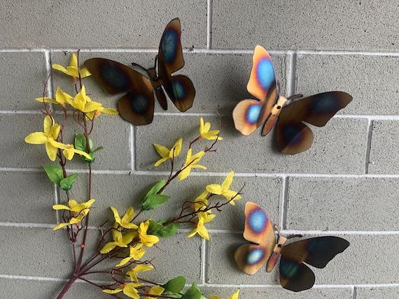 3-Stainless Steel Butterflies   - set of 3.  Heat Torched - Metal Butterflies - Home Decor - Metal Art- Stainless Steel Butterflies -