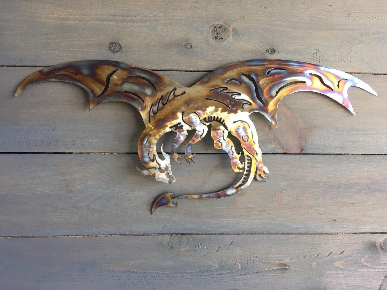 Dragon of steel - Home Decor - Dragon - Metal Dragon -Wall ...