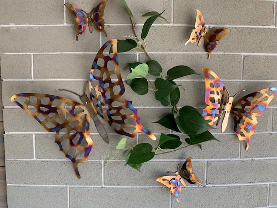 Stainless steel Butterfly - Set of 5 pcs - Colorful Butterflies - Butterflies - Home Decor - Wall Hanging - Metal Art - Metal Butterflies