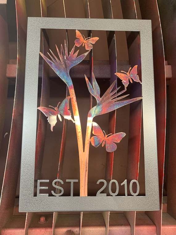 Family tree Art. birds of paradise framed art piece with butterflies and date