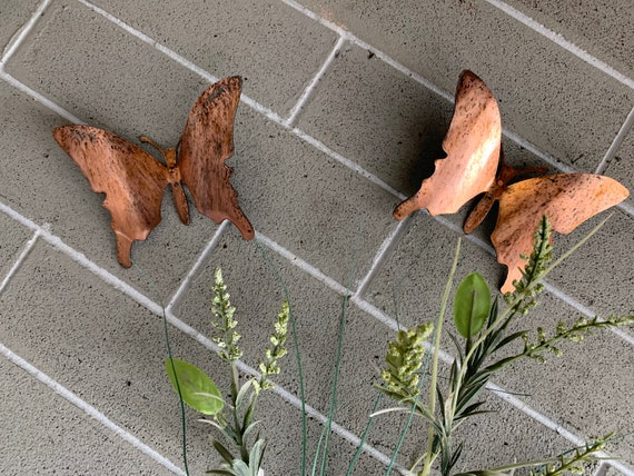 Steel Copper Patina Butterflies - Set of 3 - Butterflies - Wall Art - Metal Butterflies - Home Decor