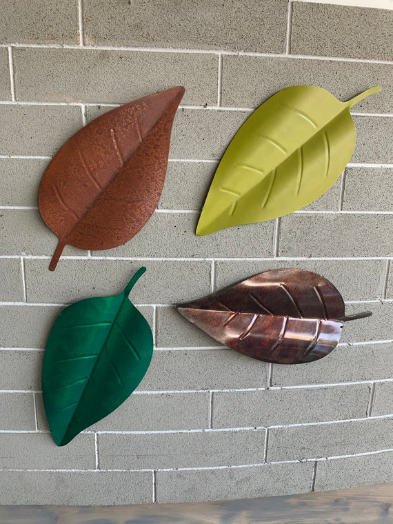 Metal wall hanging leaves   Home Decor. Colorful hanging leaves