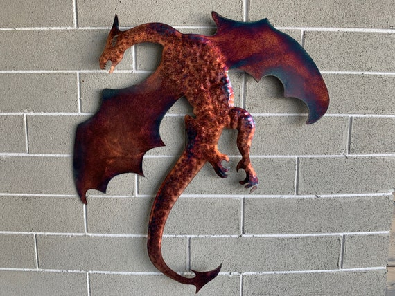 Dragon of Steel copper patina  Metal Art