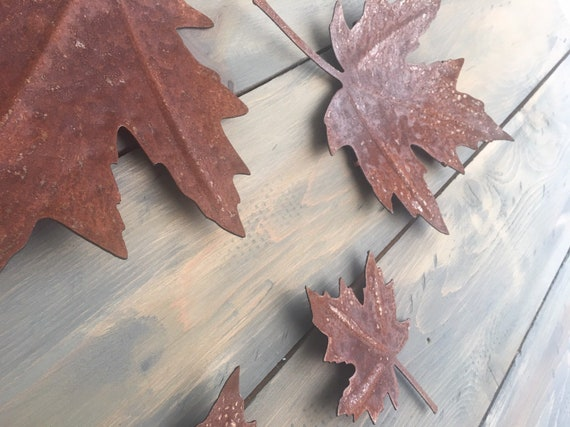 Maple Leaf Rustic Wall Art Metal Leaves Home Decor
