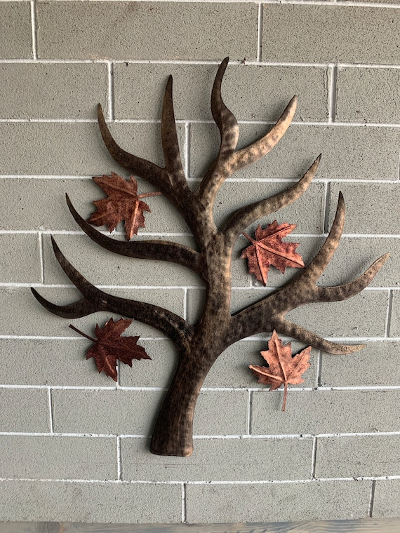 Metal wall hanging maple tree with separate hanging leaves