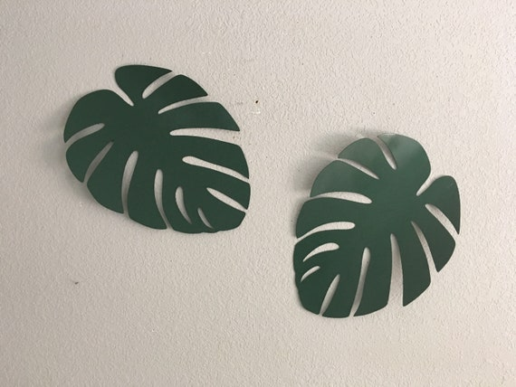 Set 2 Large Monstera leaf   Metal Leaf  Wall Hanging Leaf