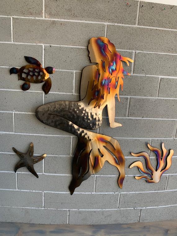 Sea Creatures and Mermaid  Theme - Stainless steel Mermaid -Home Decor  - Metal Art  Wall Hanging