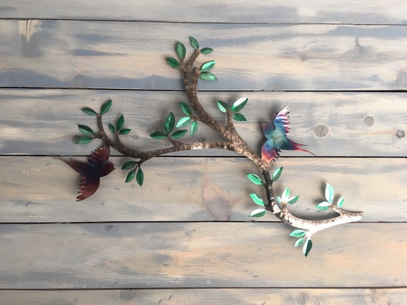 Birds on a branch  -  Bird Wall Art  - Metal Wall Art  - Home Decor